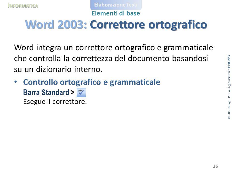 Word 2003: Correttore ortografico