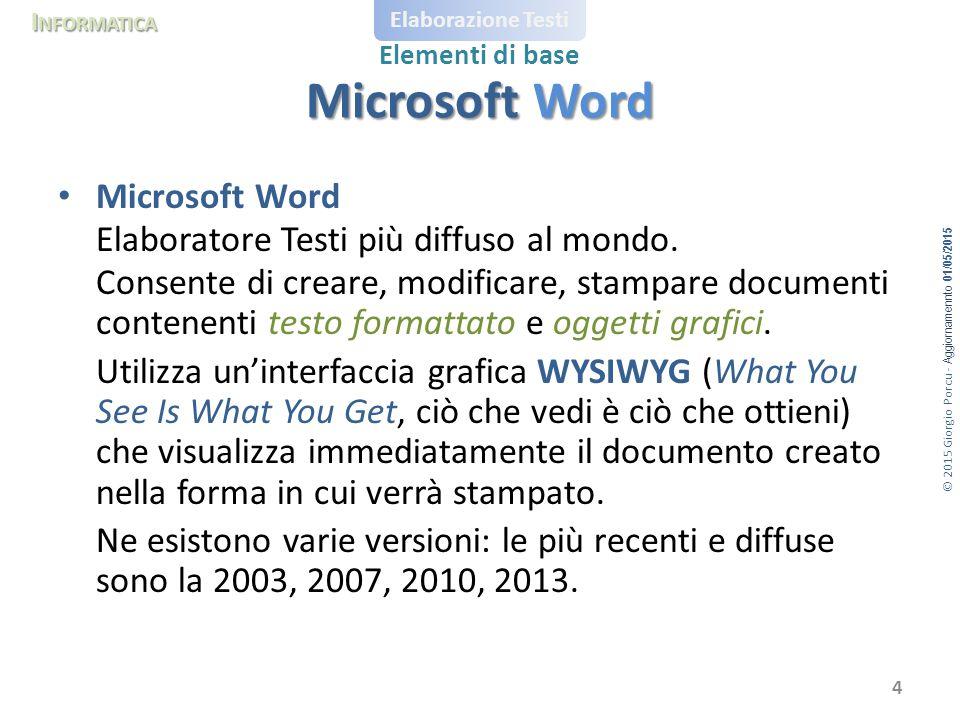 Microsoft Word Microsoft Word Elaboratore Testi più diffuso al mondo.