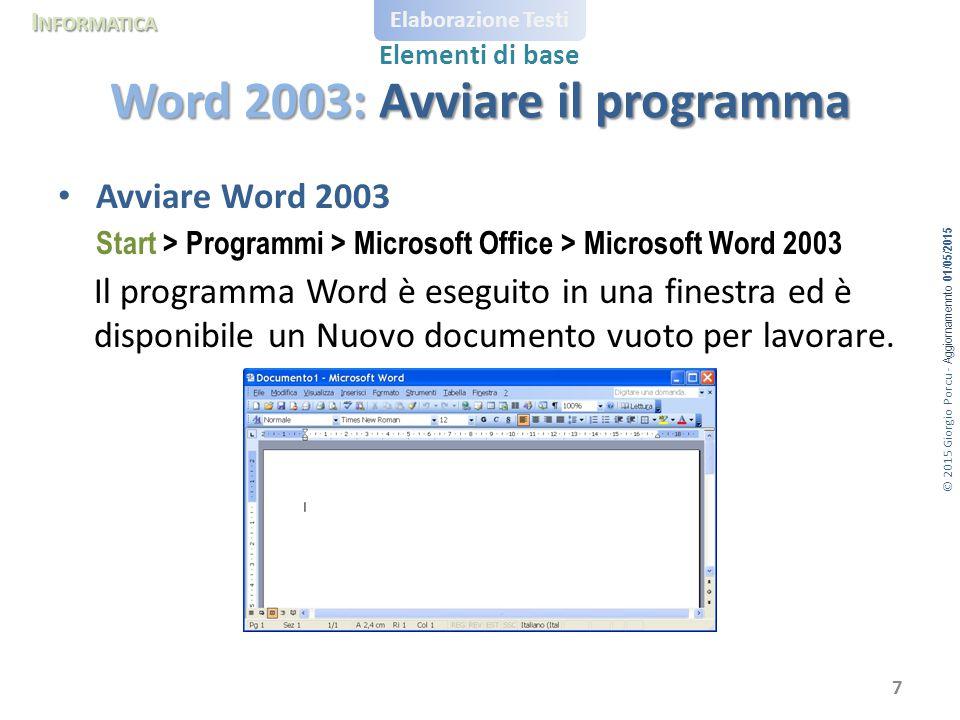 Word 2003: Avviare il programma