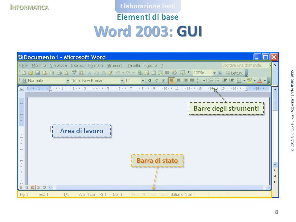 Word 2003: GUI Barre degli strumenti Area di lavoro Barra di stato