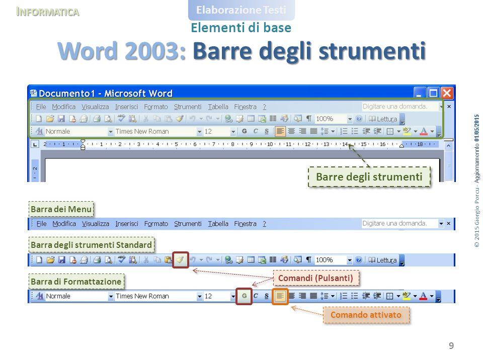 Word 2003: Barre degli strumenti