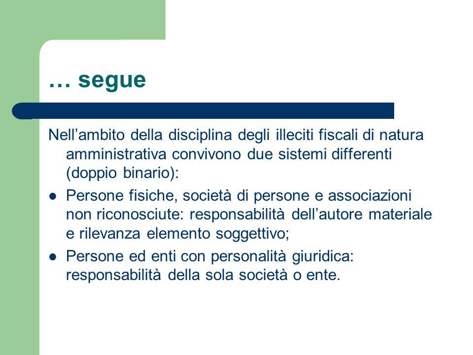 … segue Nell'ambito della disciplina degli illeciti fiscali di natura amministrativa convivono due sistemi differenti (doppio binario):