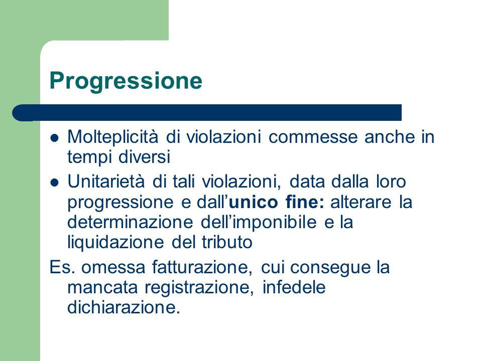 Progressione Molteplicità di violazioni commesse anche in tempi diversi.