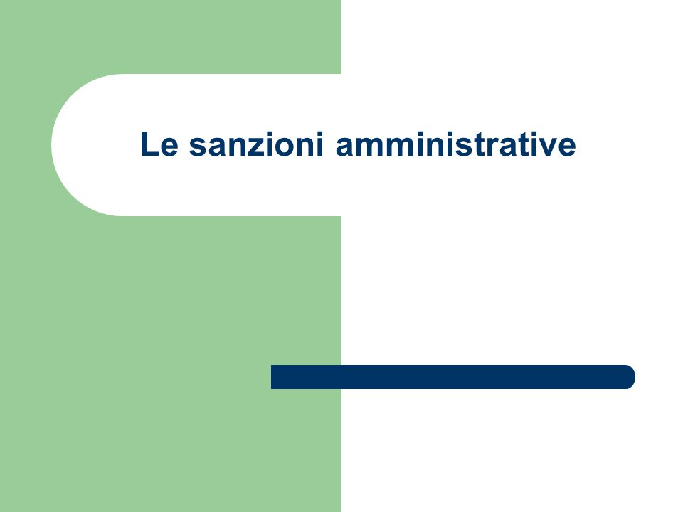 Le sanzioni amministrative