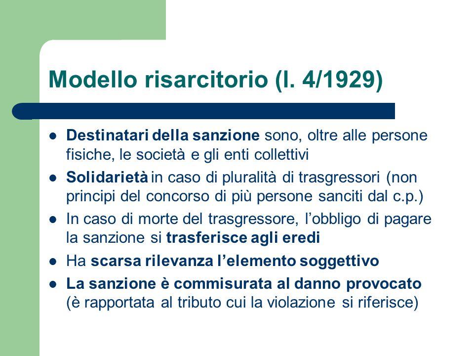 Modello risarcitorio (l. 4/1929)