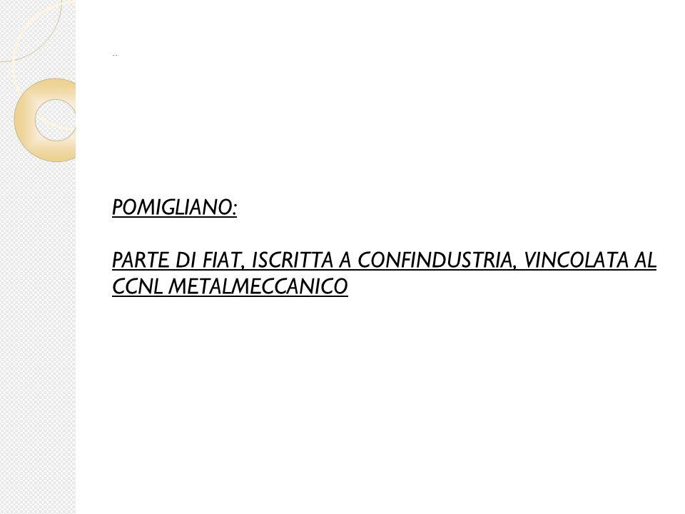 POMIGLIANO: PARTE DI FIAT, ISCRITTA A CONFINDUSTRIA, VINCOLATA AL CCNL METALMECCANICO