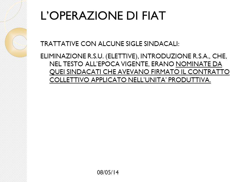 L'OPERAZIONE DI FIAT TRATTATIVE CON ALCUNE SIGLE SINDACALI: