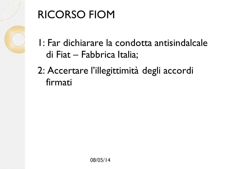 RICORSO FIOM 1: Far dichiarare la condotta antisindalcale di Fiat – Fabbrica Italia; 2: Accertare l'illegittimità degli accordi firmati.