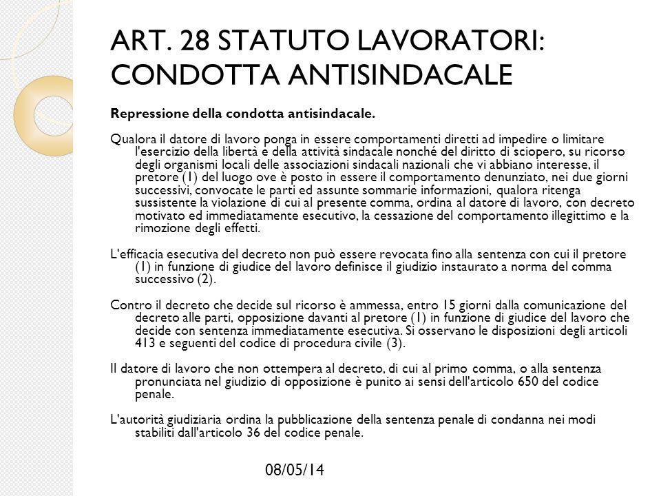 ART. 28 STATUTO LAVORATORI: CONDOTTA ANTISINDACALE