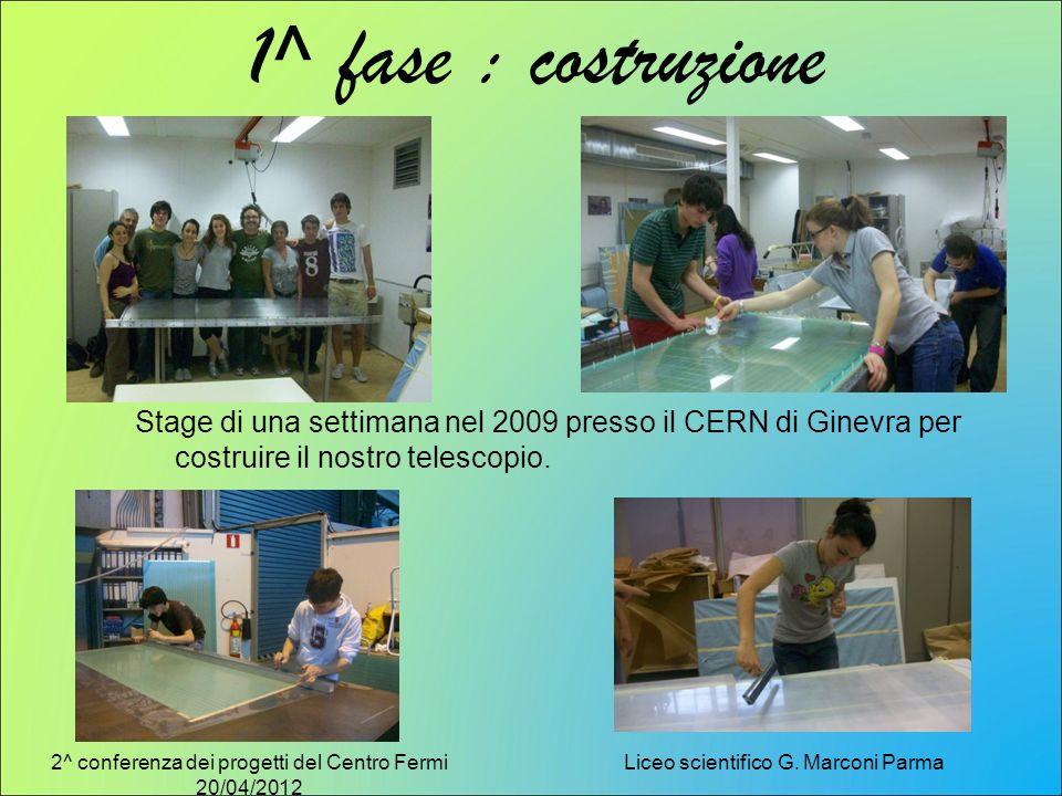1^ fase : costruzione Stage di una settimana nel 2009 presso il CERN di Ginevra per costruire il nostro telescopio.