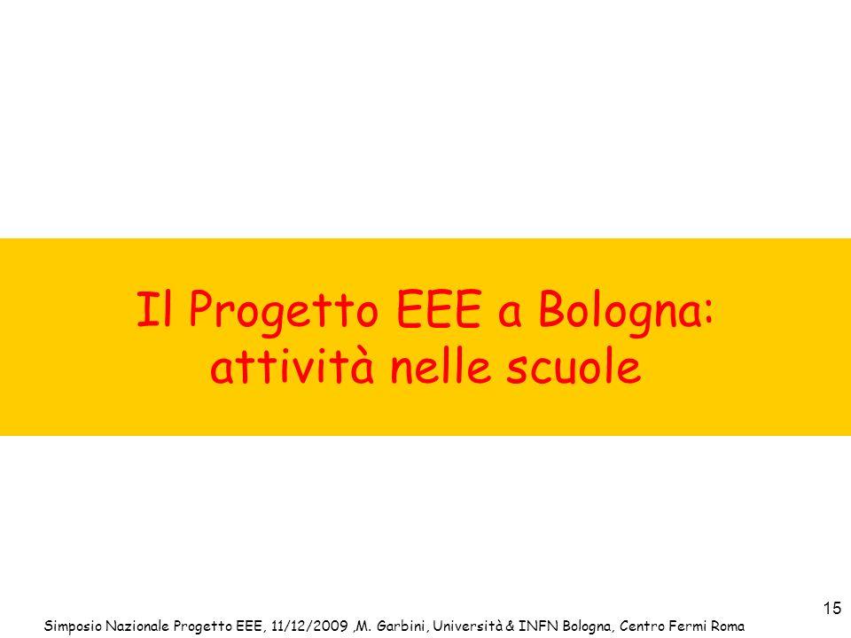 Il Progetto EEE a Bologna: attività nelle scuole