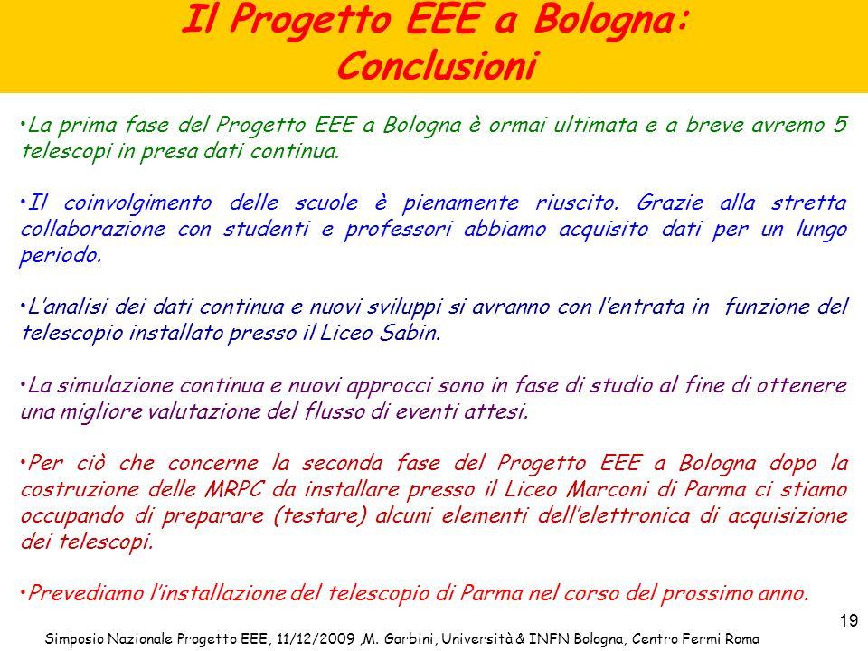 Il Progetto EEE a Bologna: Conclusioni