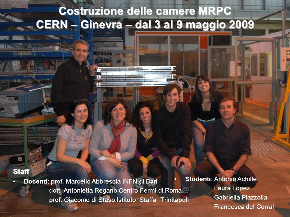 Costruzione delle camere MRPC CERN – Ginevra – dal 3 al 9 maggio 2009