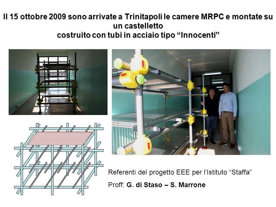 Il 15 ottobre 2009 sono arrivate a Trinitapoli le camere MRPC e montate su un castelletto costruito con tubi in acciaio tipo Innocenti