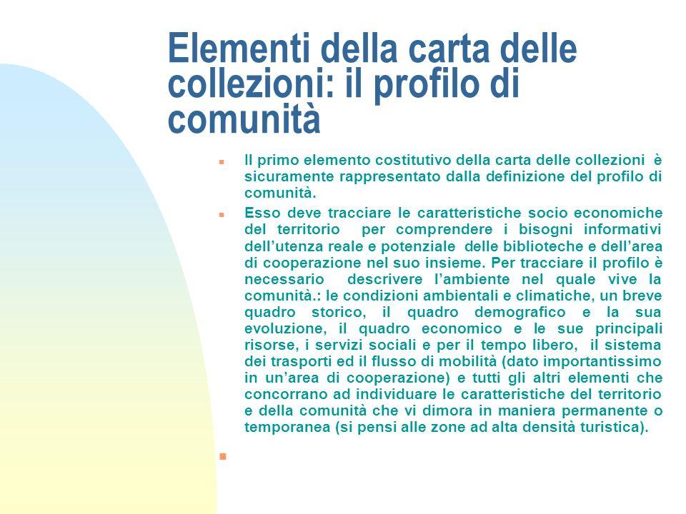 Elementi della carta delle collezioni: il profilo di comunità