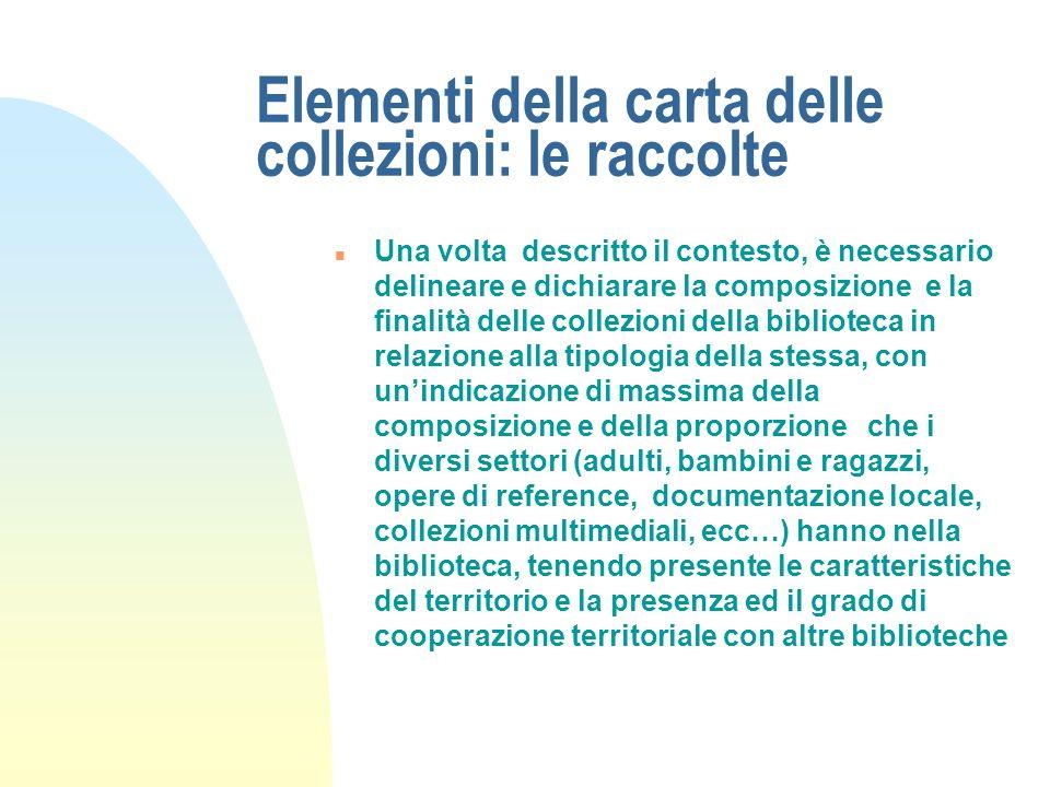 Elementi della carta delle collezioni: le raccolte