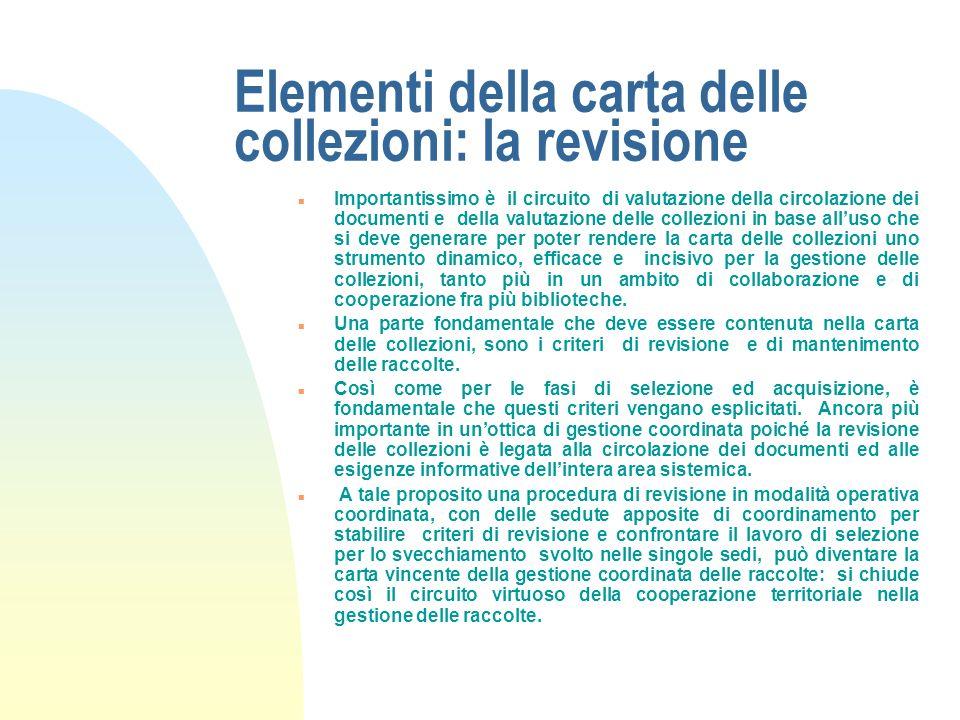 Elementi della carta delle collezioni: la revisione