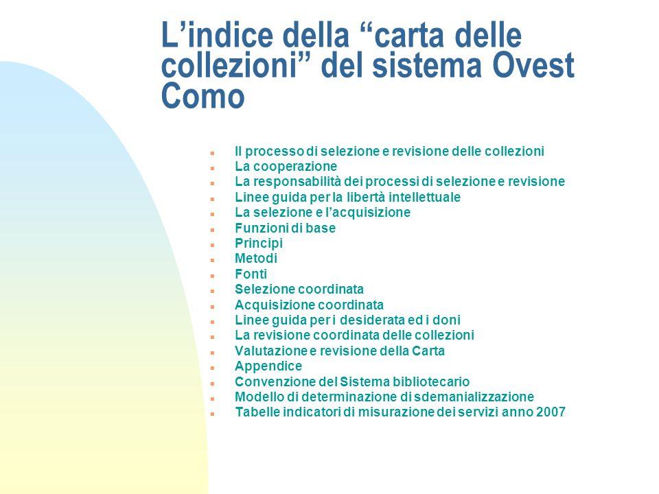 L'indice della carta delle collezioni del sistema Ovest Como