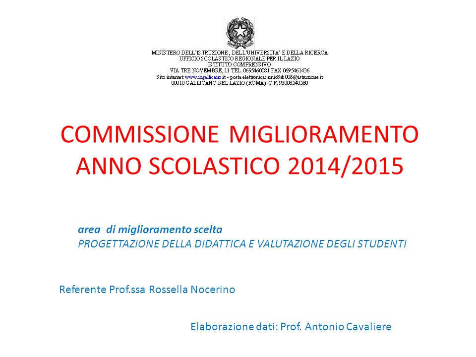 COMMISSIONE MIGLIORAMENTO ANNO SCOLASTICO 2014/2015