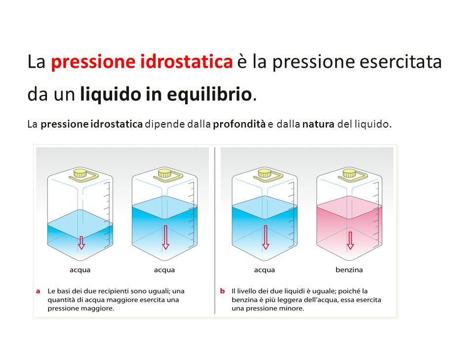 La pressione idrostatica è la pressione esercitata da un liquido in equilibrio.
