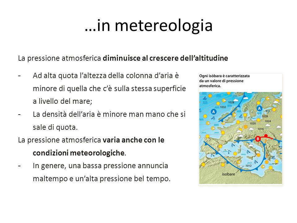 …in metereologia La pressione atmosferica diminuisce al crescere dell'altitudine.