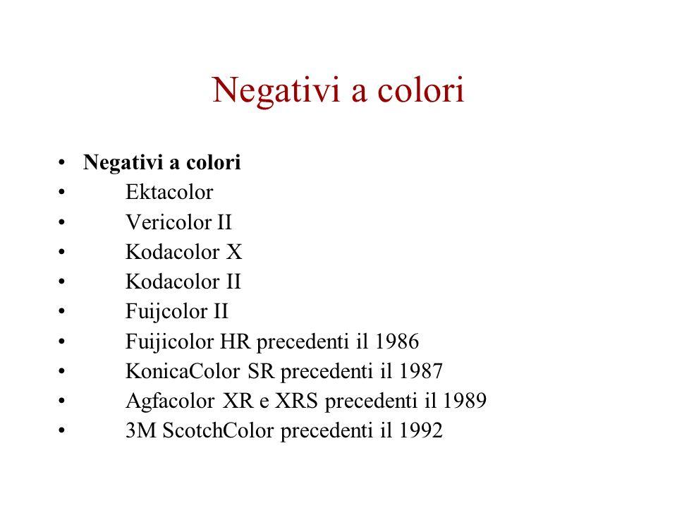 Negativi a colori Negativi a colori Ektacolor Vericolor II Kodacolor X