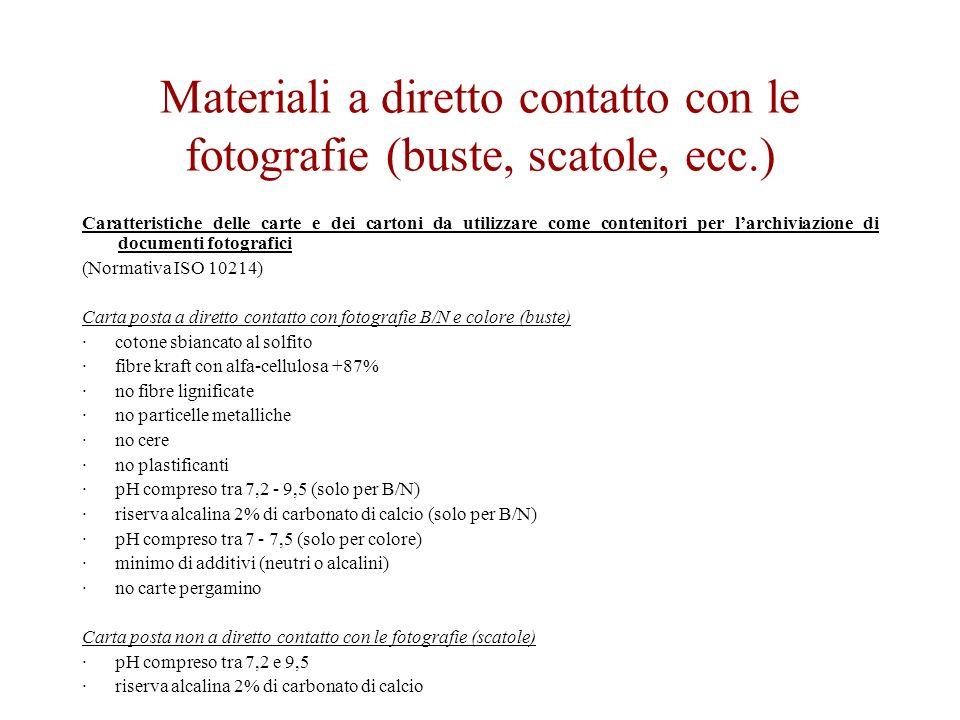 Materiali a diretto contatto con le fotografie (buste, scatole, ecc.)