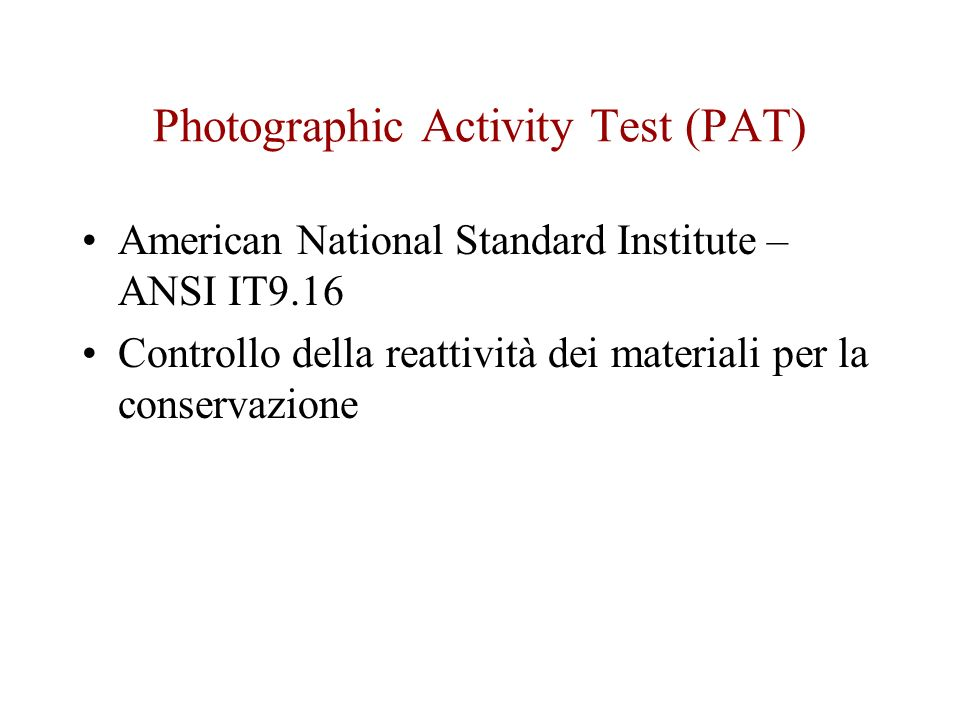 Photographic Activity Test (PAT)