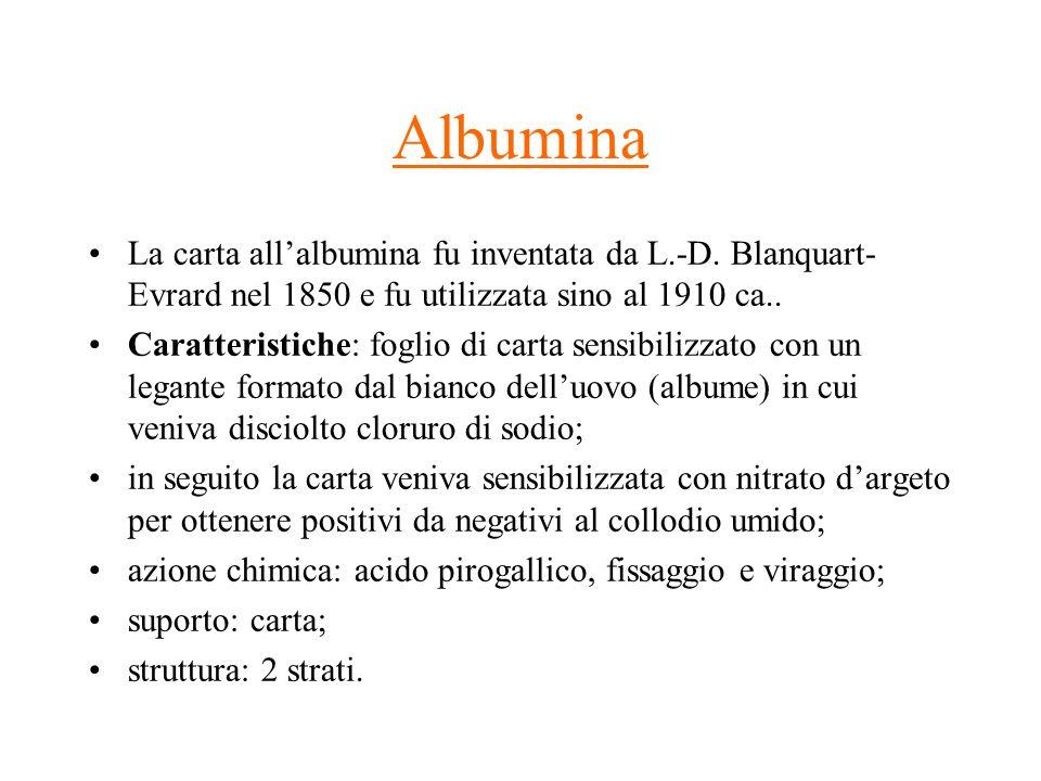 AlbuminaLa carta all'albumina fu inventata da L.-D. Blanquart-Evrard nel 1850 e fu utilizzata sino al 1910 ca..