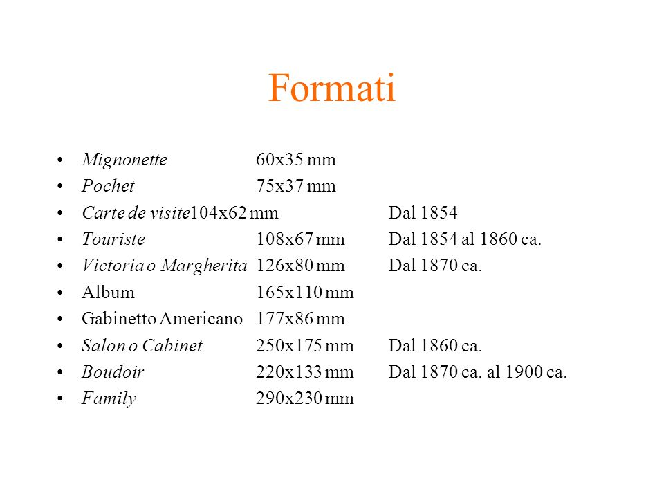 Formati Mignonette 60x35 mm Pochet 75x37 mm