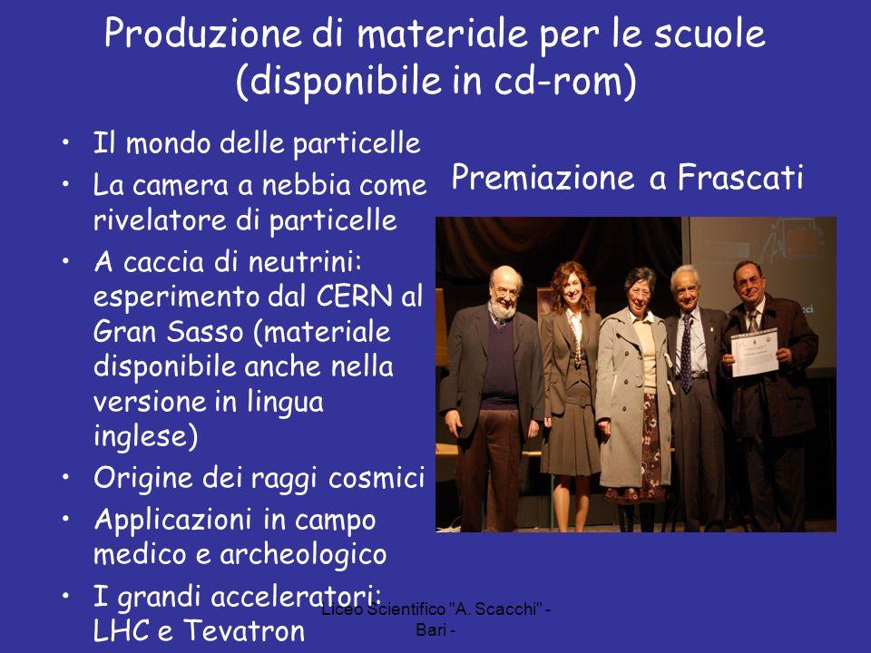 Produzione di materiale per le scuole (disponibile in cd-rom)