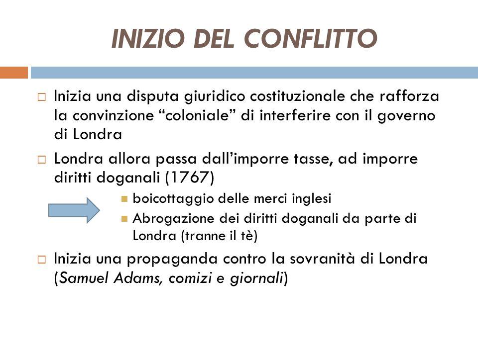 INIZIO DEL CONFLITTO Inizia una disputa giuridico costituzionale che rafforza la convinzione coloniale di interferire con il governo di Londra.