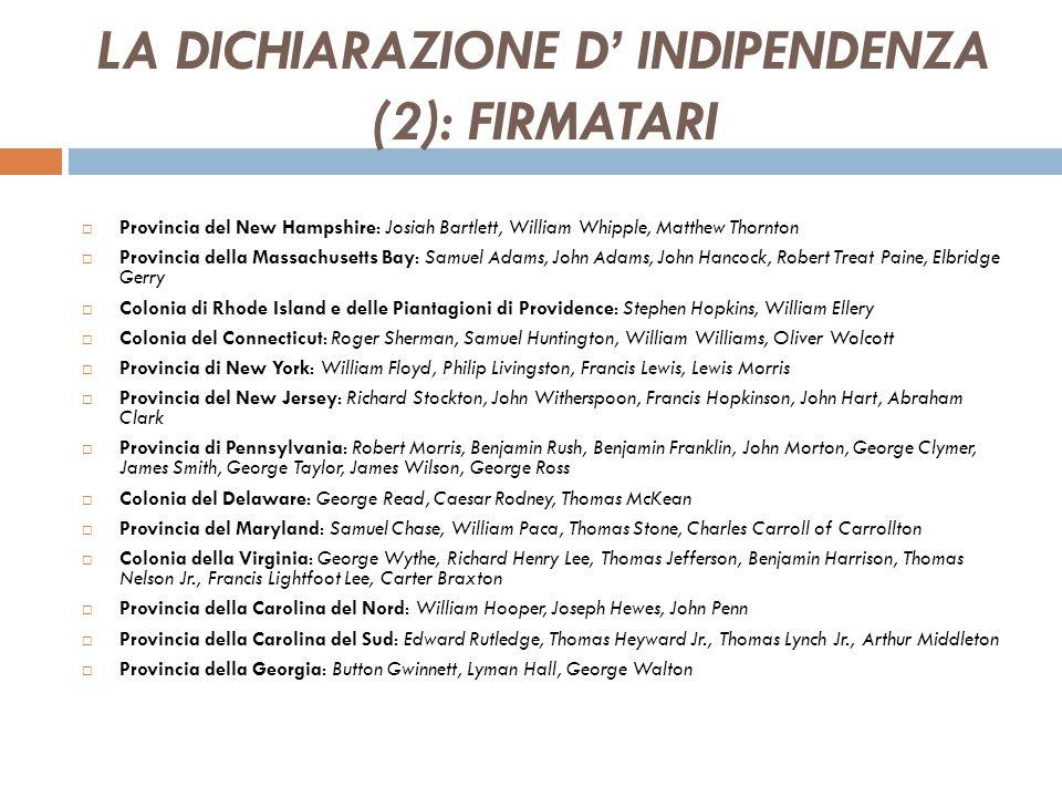 LA DICHIARAZIONE D' INDIPENDENZA (2): FIRMATARI