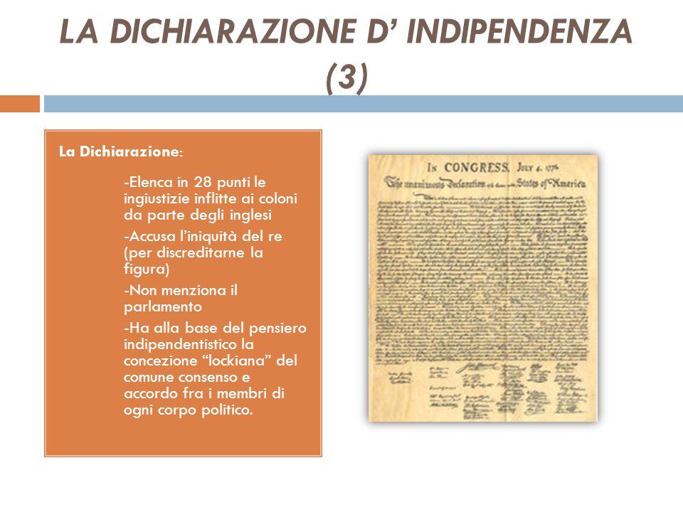 LA DICHIARAZIONE D' INDIPENDENZA (3)