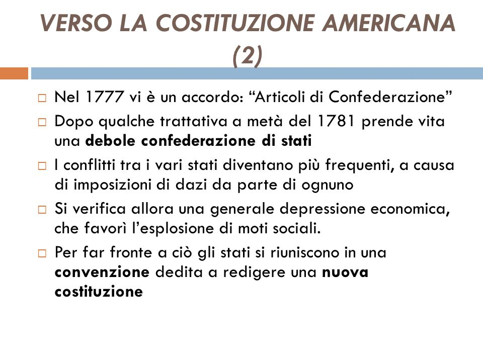 VERSO LA COSTITUZIONE AMERICANA (2)