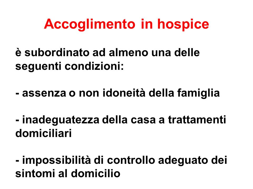 Accoglimento in hospice