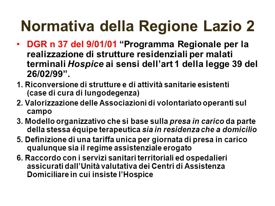 Normativa della Regione Lazio 2