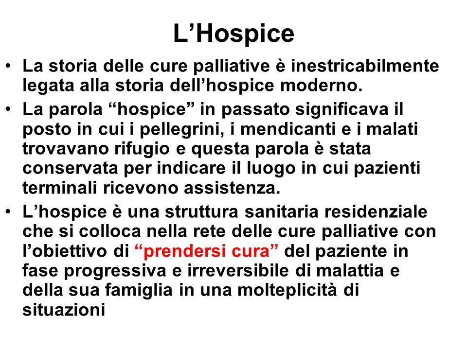 L'Hospice La storia delle cure palliative è inestricabilmente legata alla storia dell'hospice moderno.