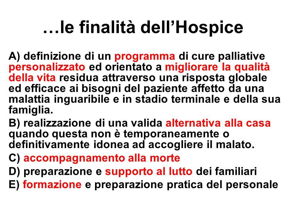 …le finalità dell'Hospice