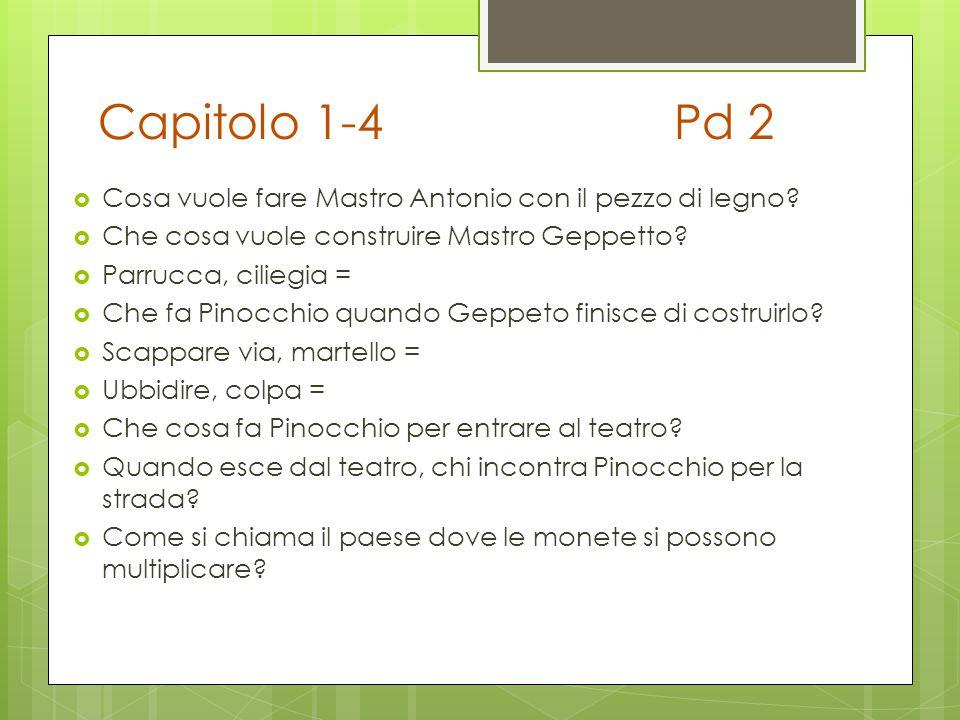 Capitolo 1-4 Pd 2 Cosa vuole fare Mastro Antonio con il pezzo di legno Che cosa vuole construire Mastro Geppetto