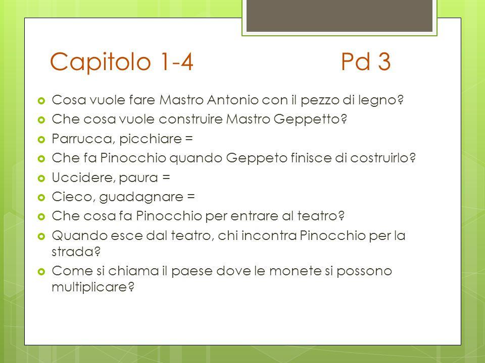 Capitolo 1-4 Pd 3 Cosa vuole fare Mastro Antonio con il pezzo di legno Che cosa vuole construire Mastro Geppetto