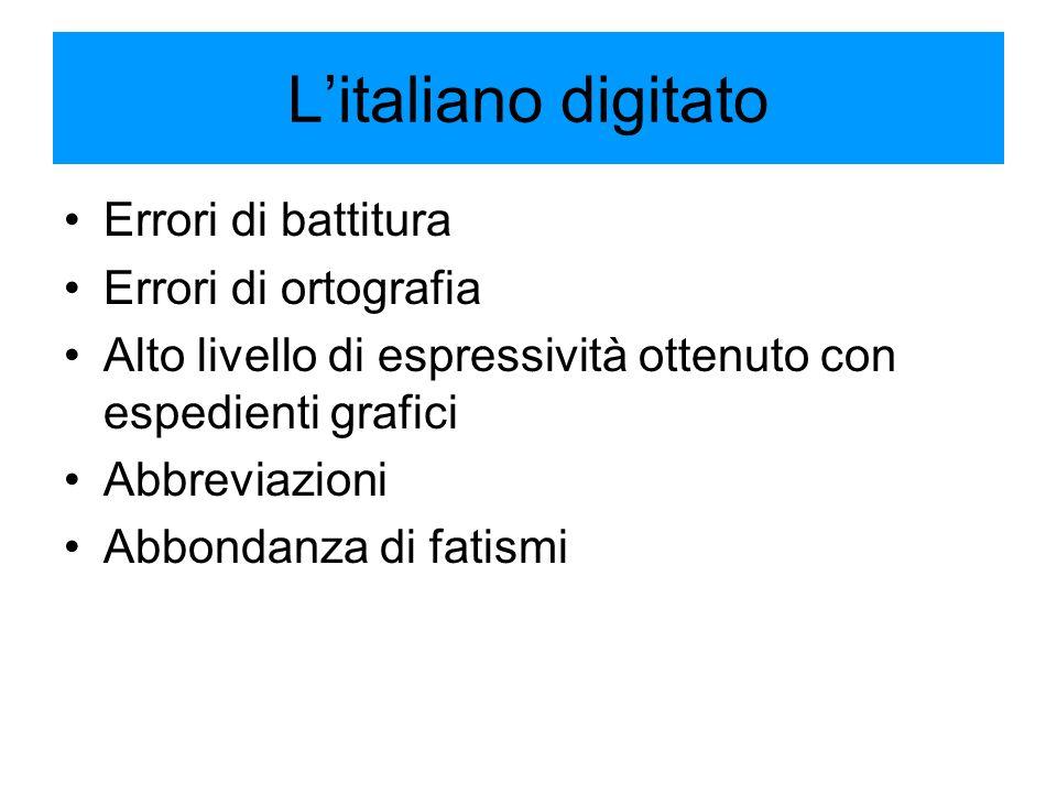 L'italiano digitato Errori di battitura Errori di ortografia