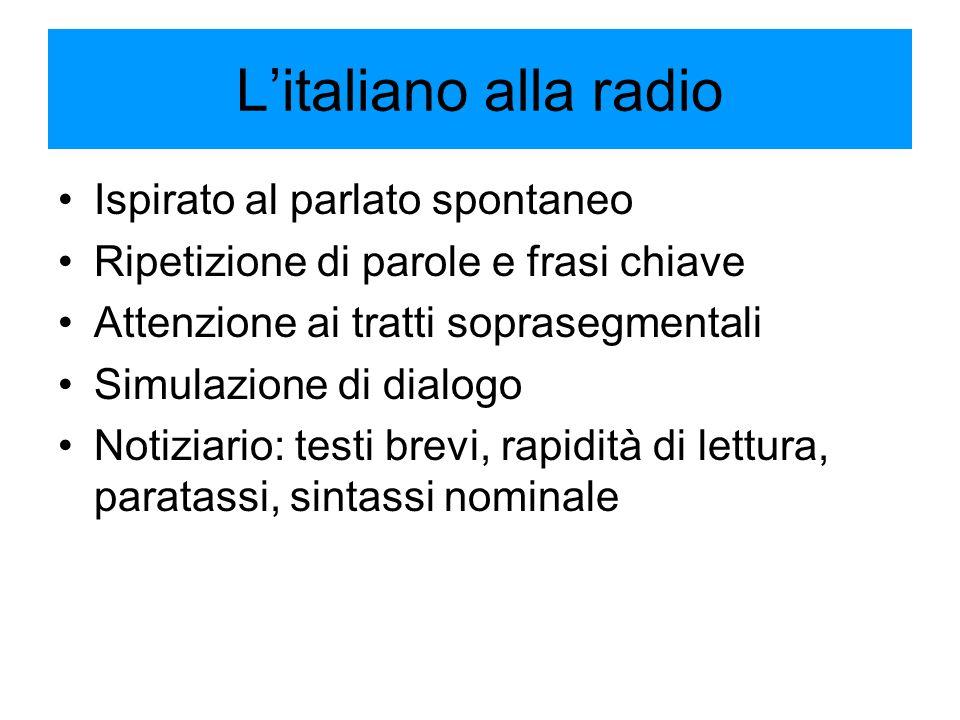 L'italiano alla radio Ispirato al parlato spontaneo