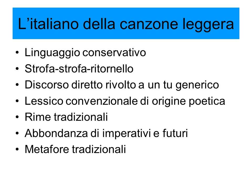 L'italiano della canzone leggera