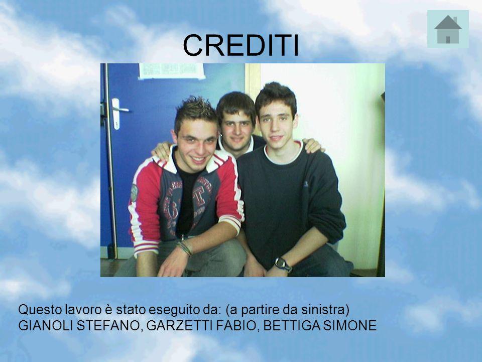 CREDITI Questo lavoro è stato eseguito da: (a partire da sinistra) GIANOLI STEFANO, GARZETTI FABIO, BETTIGA SIMONE.