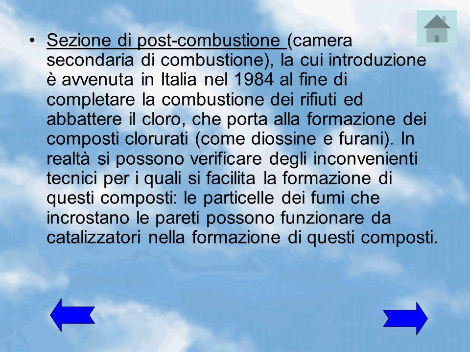 Sezione di post-combustione (camera secondaria di combustione), la cui introduzione è avvenuta in Italia nel 1984 al fine di completare la combustione dei rifiuti ed abbattere il cloro, che porta alla formazione dei composti clorurati (come diossine e furani).