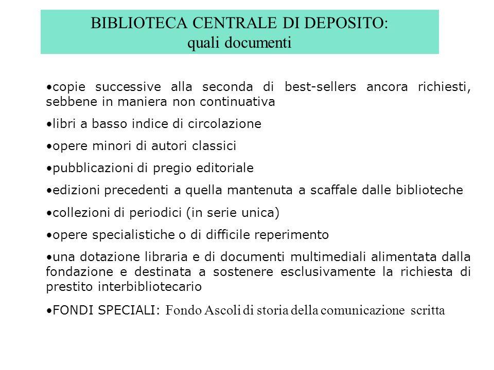 BIBLIOTECA CENTRALE DI DEPOSITO: quali documenti