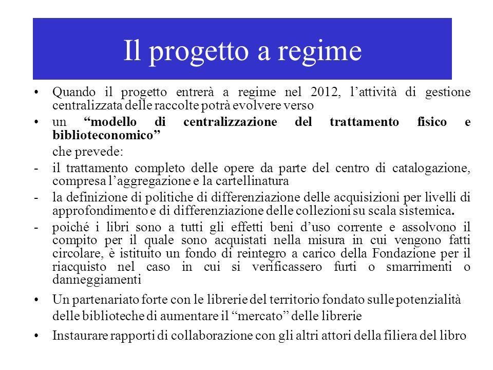 Il progetto a regime Quando il progetto entrerà a regime nel 2012, l'attività di gestione centralizzata delle raccolte potrà evolvere verso.