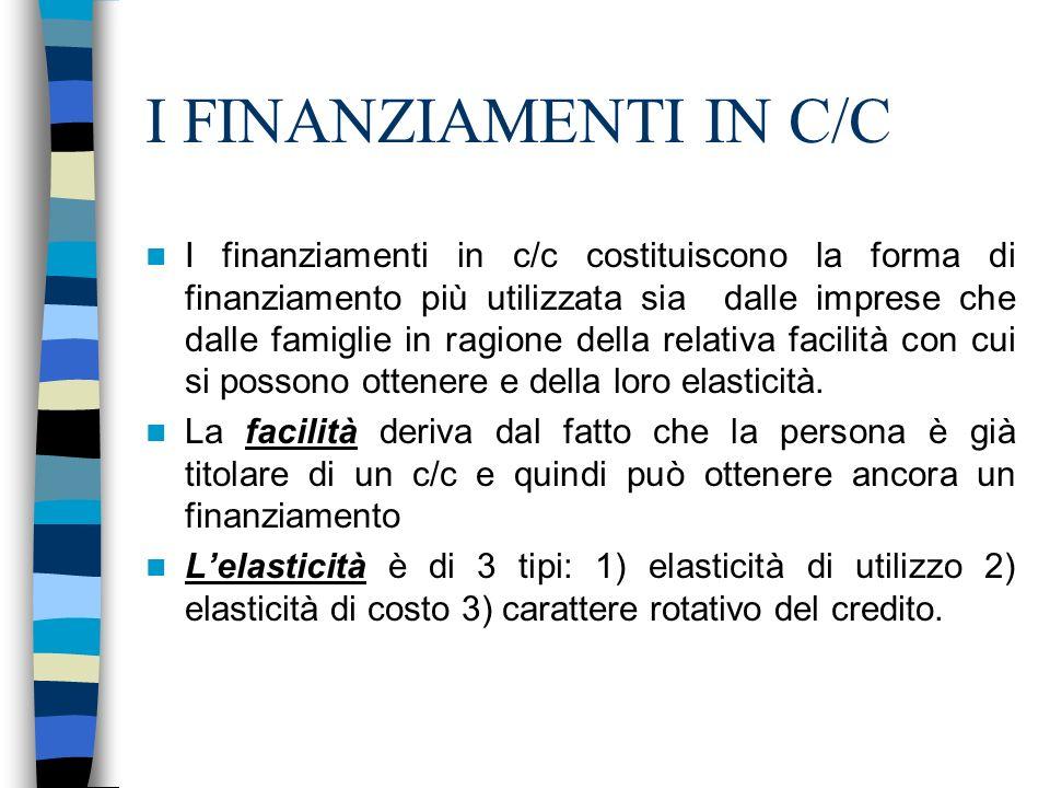 I FINANZIAMENTI IN C/C