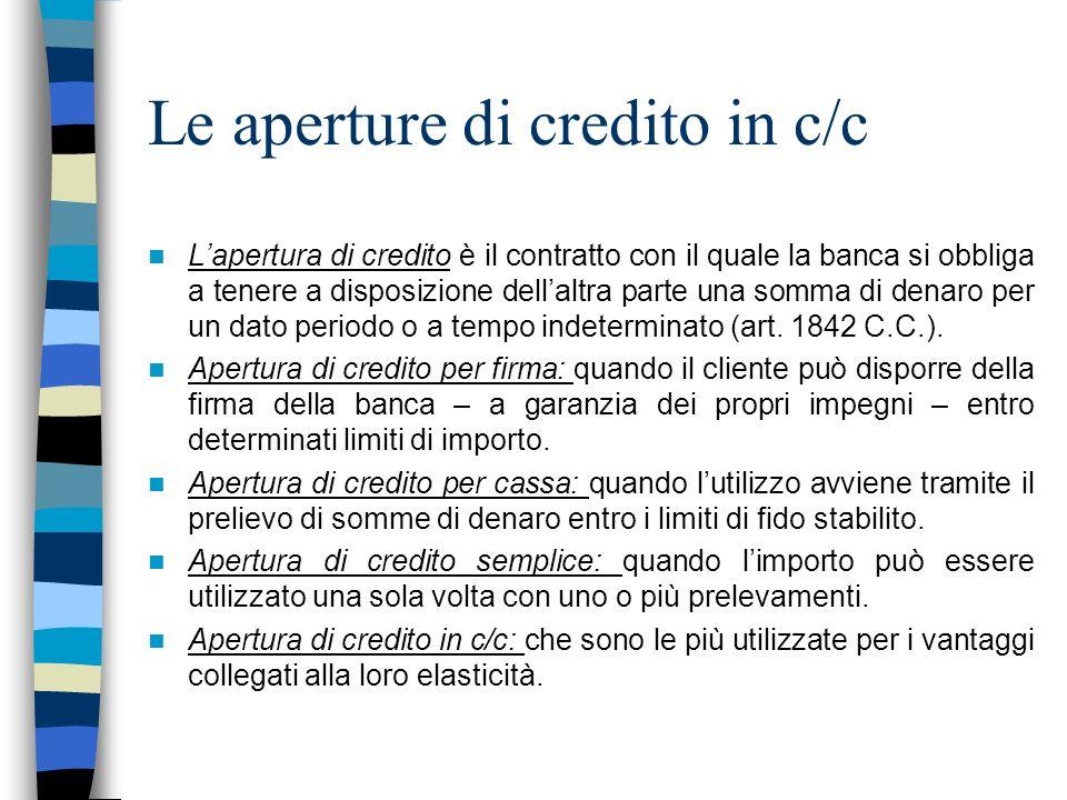 Le aperture di credito in c/c